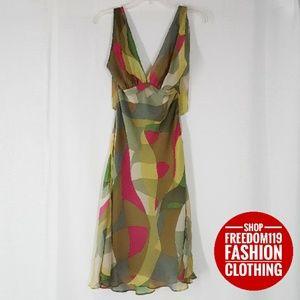 BCBG | Silk Flutter Hem Midi Halter Dress (0)